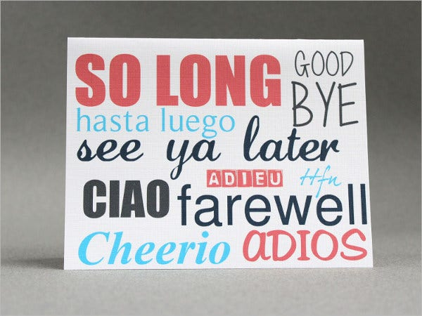 farewell party greeting card1