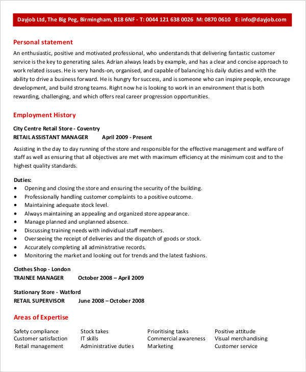Retail Assistant Manager Resume  Assistant Manager Retail Resume