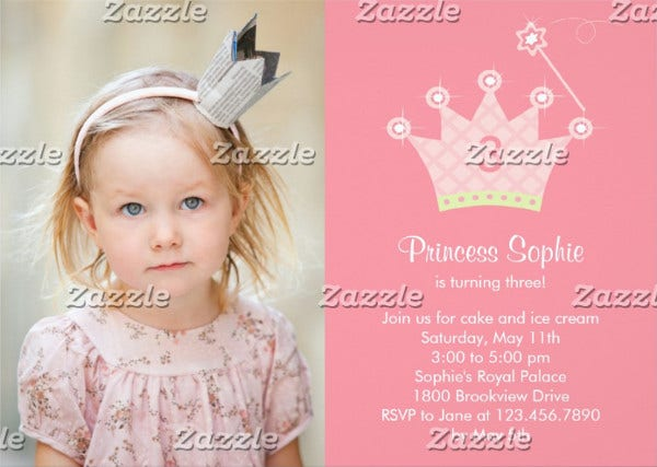 princess party invitation card
