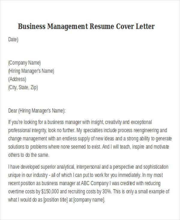 Business Management Cover Letter  Change Management Resume