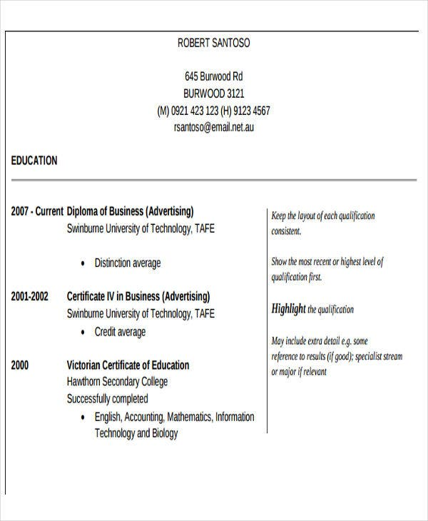 resume format for small business