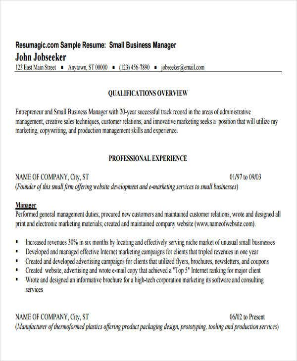 small business manager resume - Business Resume Template