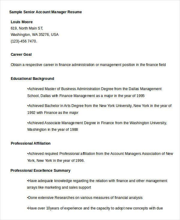 Free Manager Resume Templates - 40+ Free Word, Pdf Documents