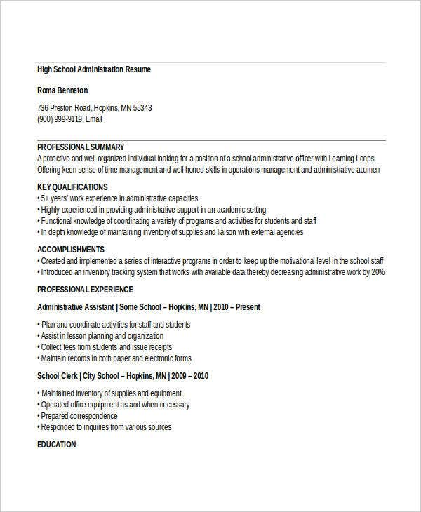 44  administration resume templates