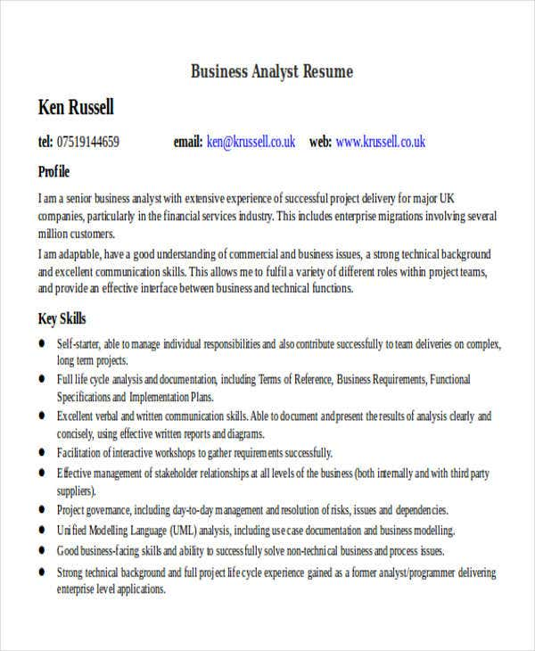 Free Business Analyst Resume