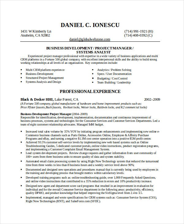 best business resume 30 free word pdf document