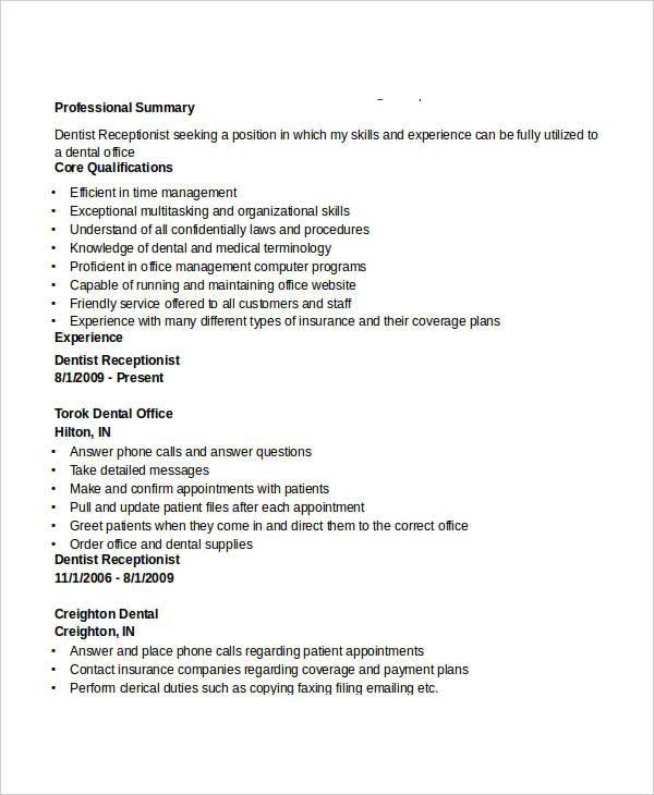dental administration receptionist resume
