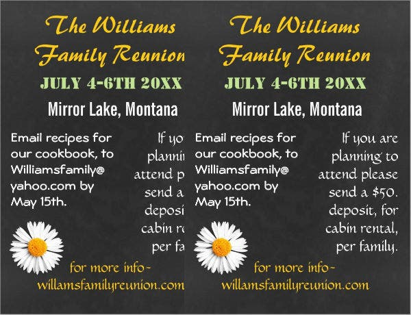 Chalkboard Family Reunion Invitation Flyer  Family Reunion Flyer