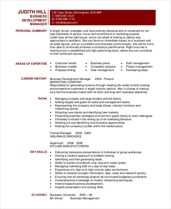 best business resume