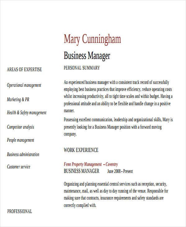 business resume sample free premium templates