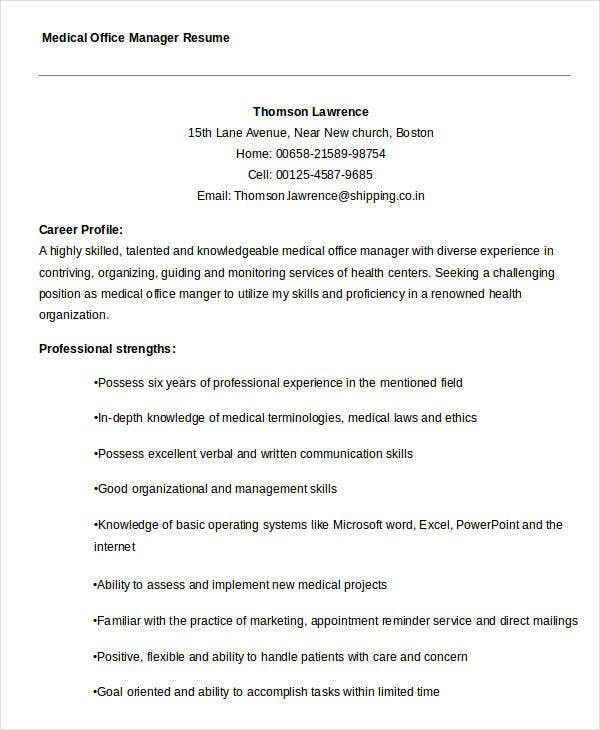 Medical Administrative Manager Resume