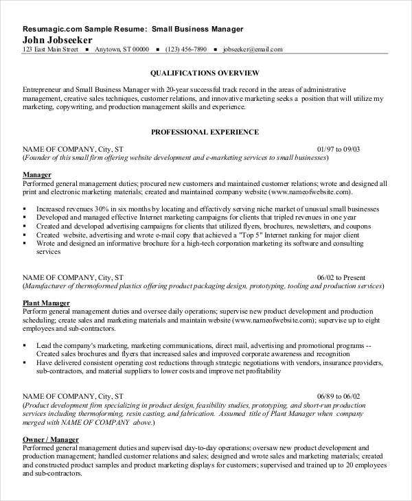 free manager resume templates 40 free word pdf documents sample company profile for small business - Small Business Owner Resume