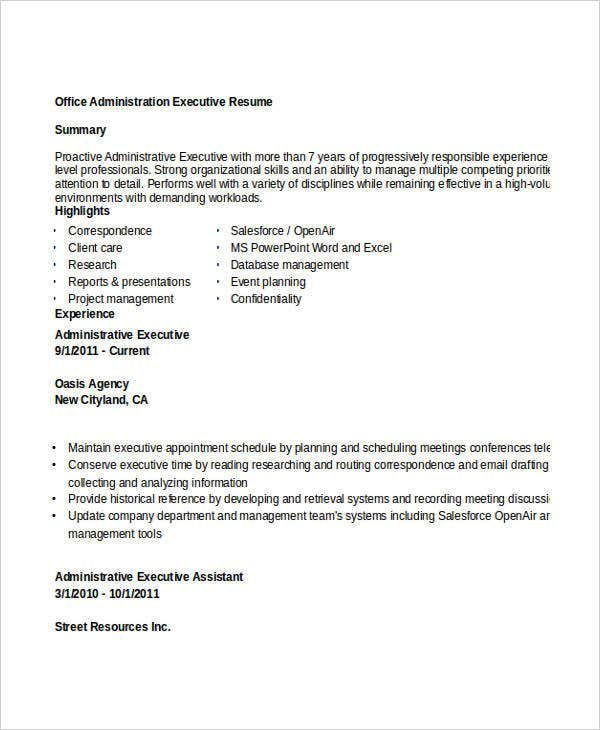 office administration executive resume