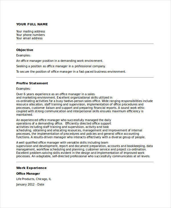 22  manager resume templates