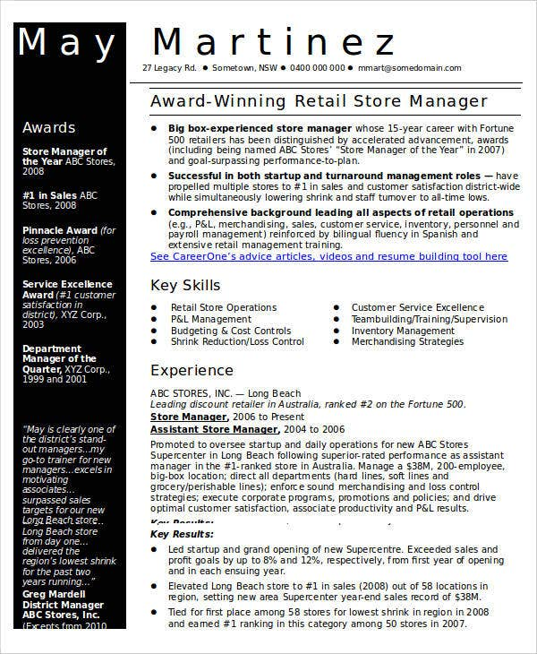 retail store manager resume1