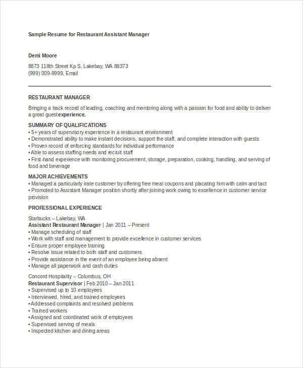 Manager Resume Examples   Free Word Pdf Documents Download