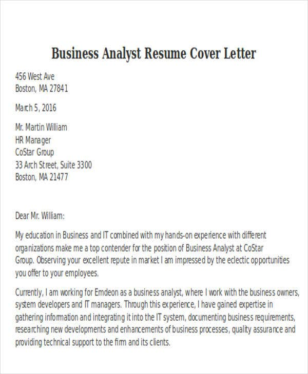 business analyst resume cover letter coverlettersandresumecom