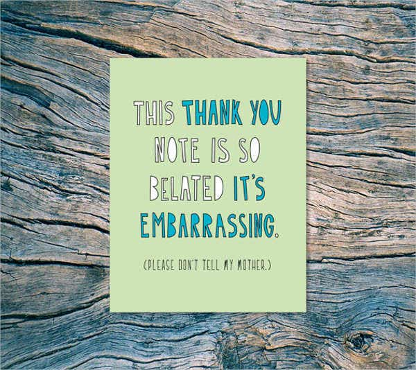 belated wedding thank you card