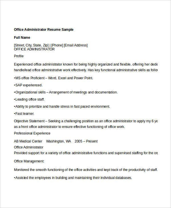 Office Administrator Resume Sample. Job Interview Site.com  Office Administrator Resume Sample