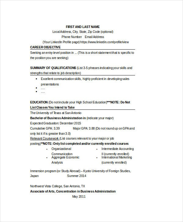 business resume sample doc1