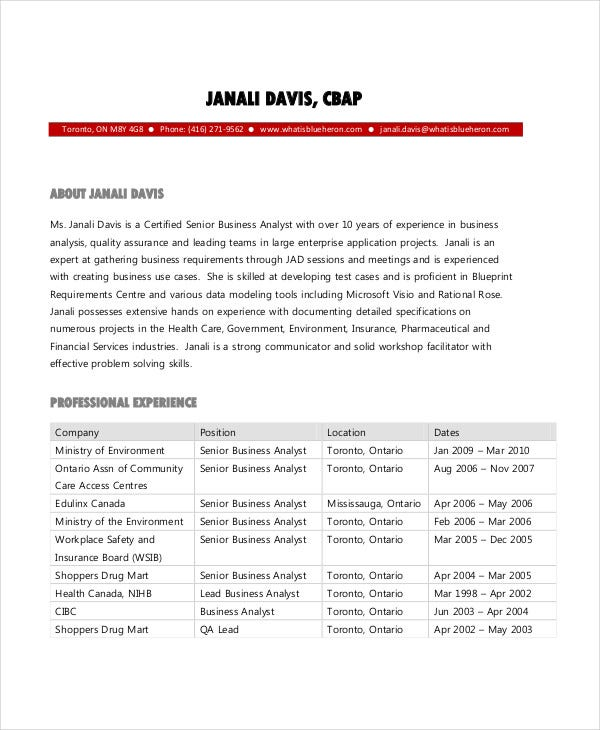 free business analyst resume1
