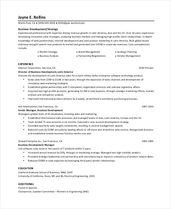 free business development resume1