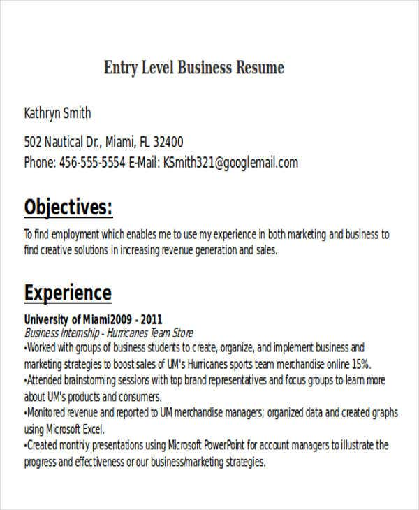 resume example for entry level business