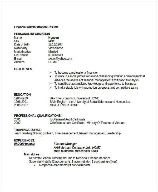 25 administration resume templates pdf doc free premium careerlink details file format yelopaper Image collections
