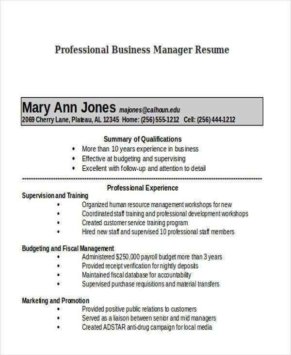 professional business manager resume