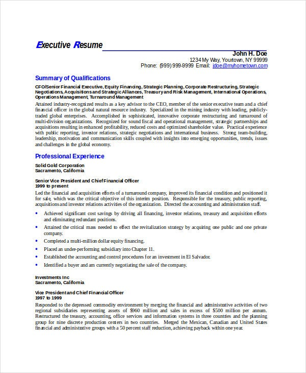 business executive resume sample1