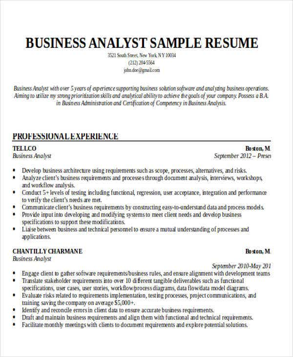 business analyst resume occupational exles 28 images
