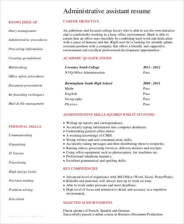 Administration Assistant Resume  Administrative Skills Resume