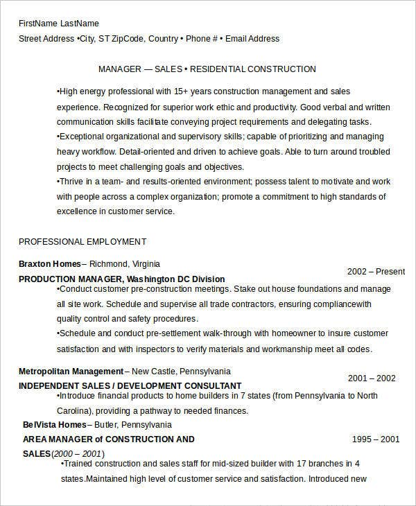 residential construction manager resume1