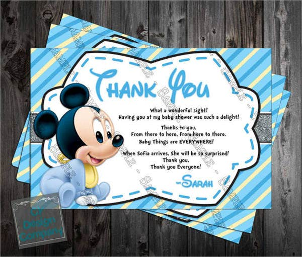 baby mickey mouse thank you card