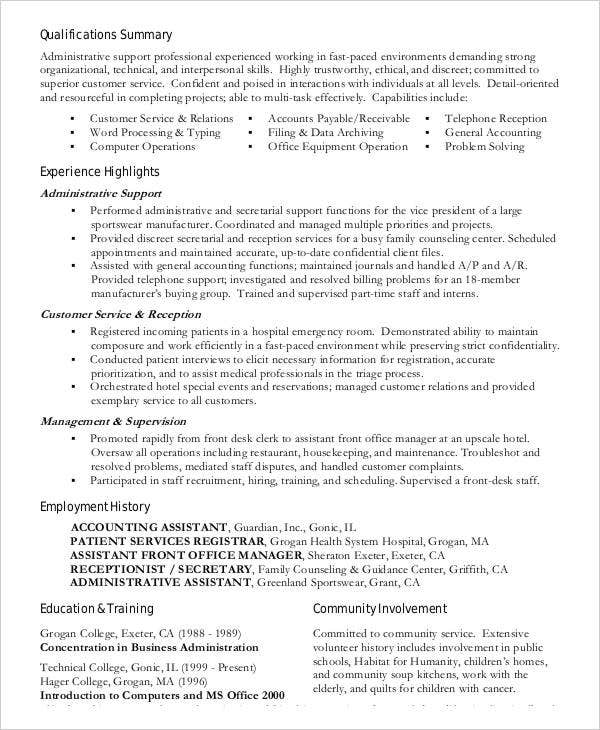 administration resume samples 29 free word pdf documents