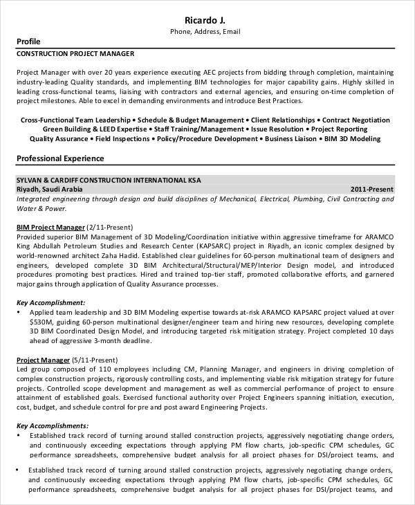 construction project manager resume sle doc 28 images