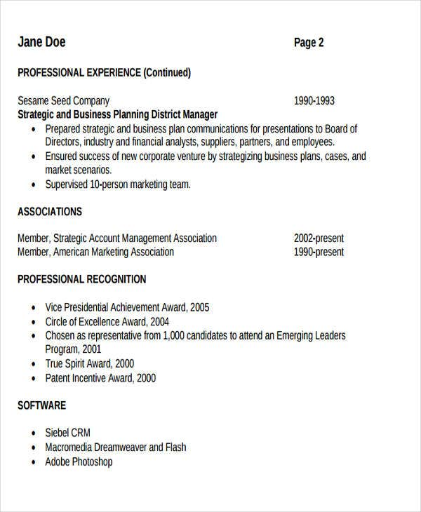 business resume format in pdf