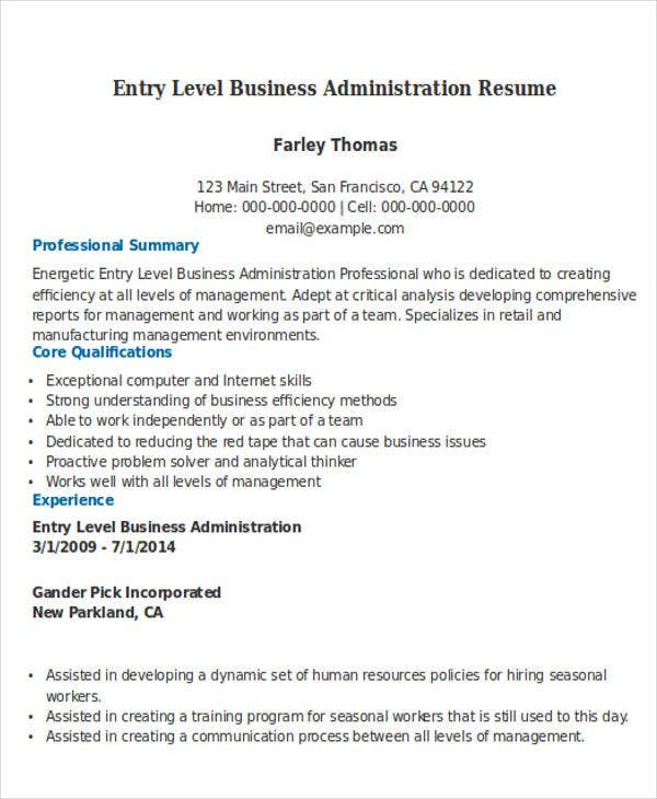 Entry level business administration resume resume ideas for Business administration resume skills