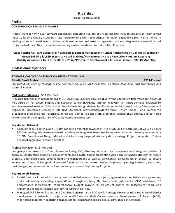 project manager resume samples construction project manager