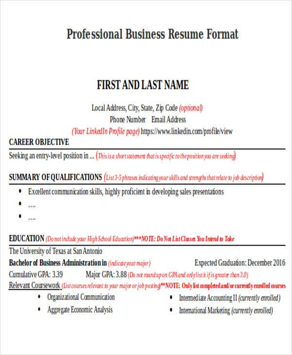 professional business resume format businessutsaedu