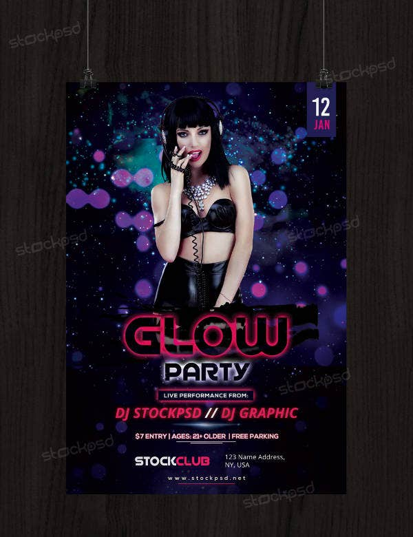 Printable Glow Party Flyer