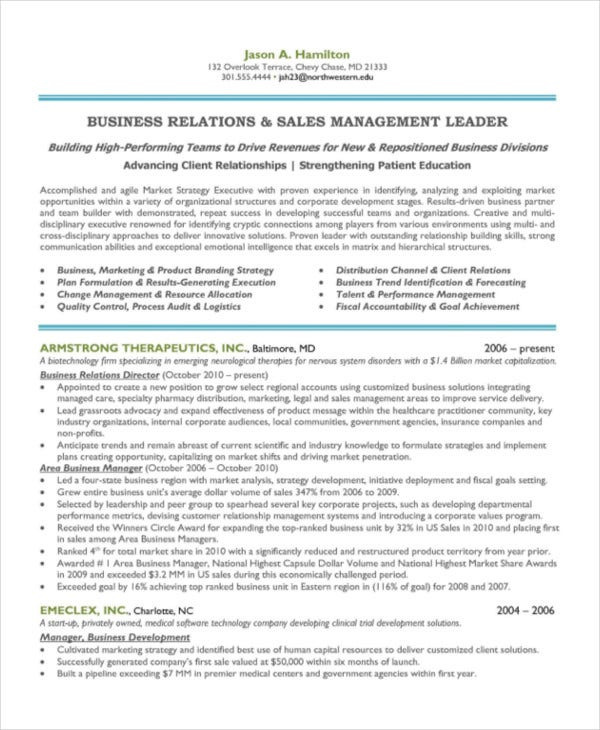 sales and marketing manager sample - Marketing Manager Resume