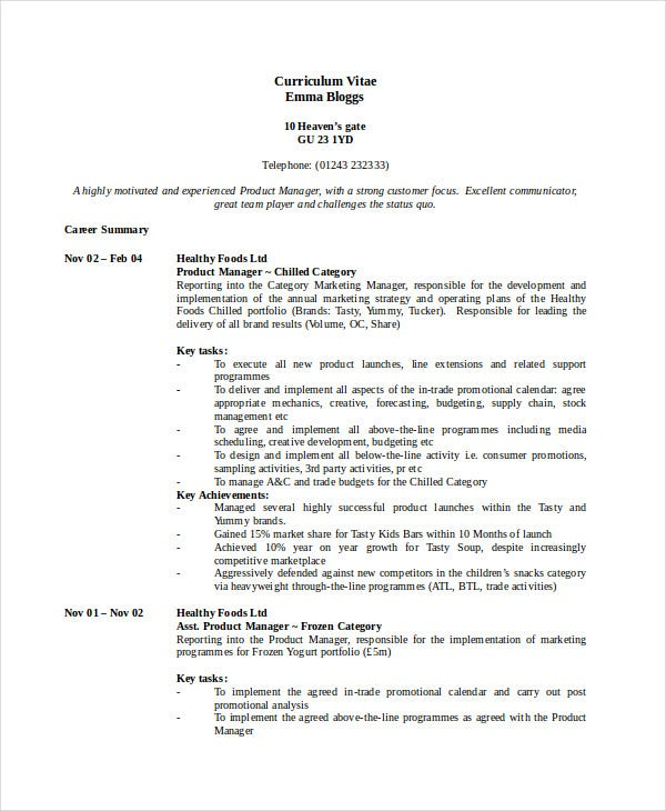 Manager Resume Sample Templates   Free Word Pdf Documents