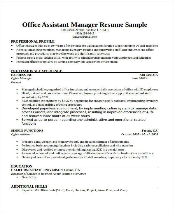 office assistant manager resume1