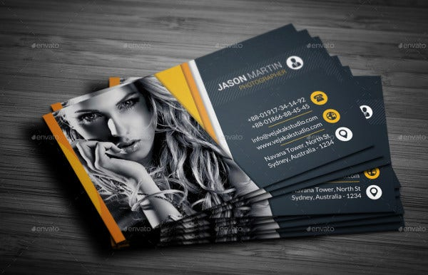 Sample business cards free premium templates professional photography business card reheart Gallery
