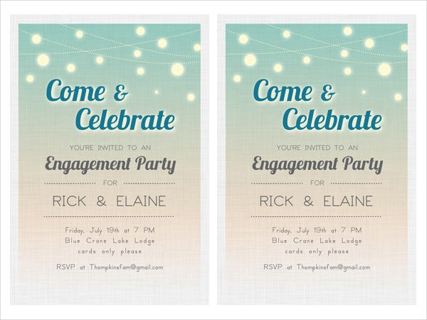 graphic regarding Free Printable Engagement Party Invitations identified as 24+ No cost Engagement Invitation Templates - PSD, AI, Term
