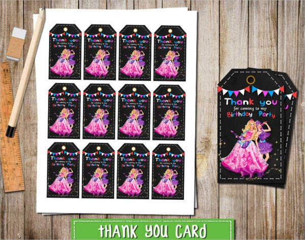 barbie birthday thank you card