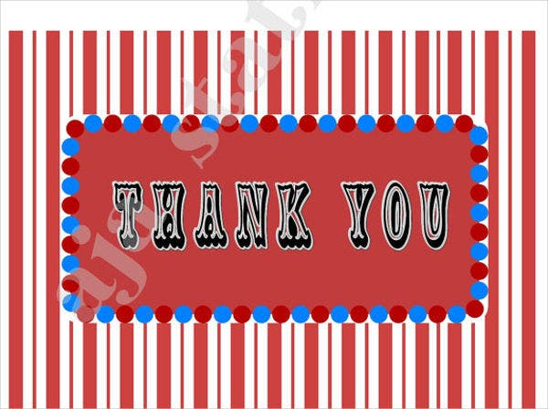 carnival birthday thank you card