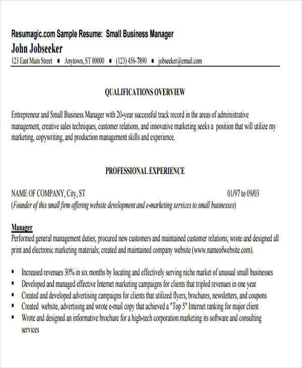 small business operations manager resume