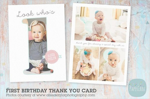 70 thank you card designs free premium templates first birthday thank you card bookmarktalkfo Image collections